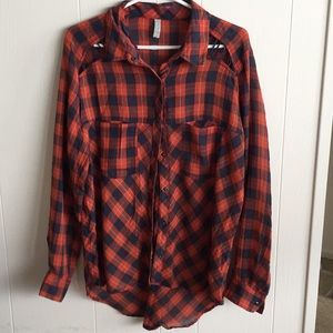 Free people plaid shirt with cutouts size Med